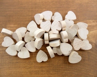 "55 Wood Hearts 3/4"" H x 3/4"" W x 1/4"" Thick Unfinished Wood Heart Cutouts Cut Out"