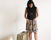 Clearance SALE/ Mixed Black and Leopard Tailored Buttons Dress/ color block dress / Leopard print/ Sleeveless tunic
