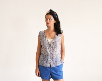 Clearance SALE / Anchor printed women top, Buttoned down sleevless chiffon blouse, sheer top