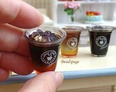 Miniature Ice Coffee Drinks Cafe Take-away coffee Cup, 1/4 Scale BJD Blythe DAL Pullip Dolls Food DIY Craft Food Jewelry Cute Kawaii