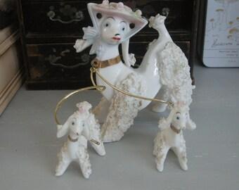 Vintage Porcelain Poodle Set