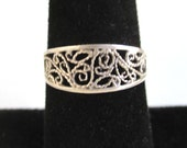 925 Sterling Silver Ring / Band - Nice Filigree Rope Texture - Vintage
