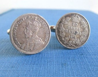 CANADA Coin Cuff Links - 925 Silver 1910 Canadian 10 Cent Dimes