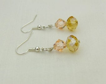 Yellow Crystal Rondelle and Pink Crystal Bicone Bead Earrings, Pierced Ears, Accessories, Gift, Birthday, Christmas, Anniversary, Jewellery