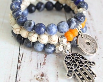 Moroccan style coin and Hamsa set of 3 Elastic beaded bracelets White howlite Turquoise,Yellow Topaz, Blue Sodalite beads Designed by Inali