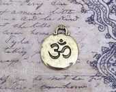 Hammered Om Charm Pendant - Antique Gold Bronze Pewter  - Inspirational - Yoga - Buddhism - Zen - Bohemian - Aum Ohm - Central Coast Charms