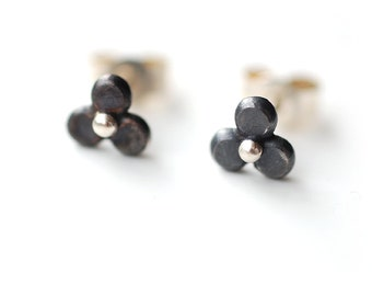 Recycled Sterling Silver Trefoil Stud Post Earrings oxidized black Flowers