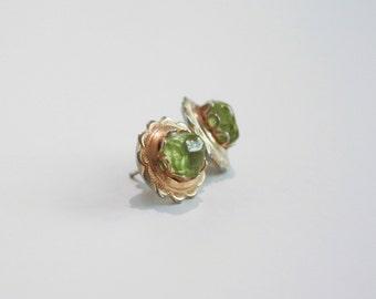 Natural Stone Peridot Earrings - studs.