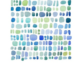 Abstract Watercolor painting  blue green dots original painting