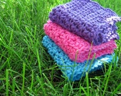 Cotton Candy Hand-Crocheted Dishcloth/Washcloth Set in Hot Pink, Turquoise, and Lilac