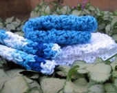 Sea Scape Hand-Crocheted Dishcloth/Washcloth Set in Hues of Blue and White