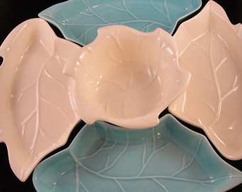 Leaf Shaped Dishes Lazy Susan Style Blue and White