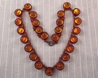 Vintage Plastic Dots Necklace Orange Brown Topaz Colors Fall Autumn Jewelry Fun Retro Whimsical Gum Drop