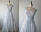 50's Prom Dress // Vintage 1950's Baby Blue Chiffon Prom Wedding Party Dress S