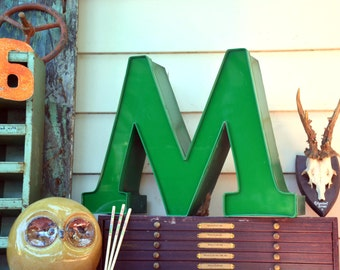 Vintage Marquee Sign Letter Capital 'M' or 'W': Large Pine Green Wall Hanging Initial -- Industrial Neon Channel Advertising Salvage