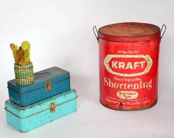 Vintage KRAFT Lard Shortening Tin Can Bucket: Red & White 50 Pound Food Pail -- Chef / Bakery / Kitchen / Restaurant / Diner / Cooking Decor