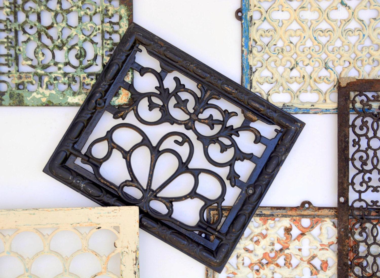 Cast Iron Vent Cover Grate Hinged Art Nouveau Floral Scroll: