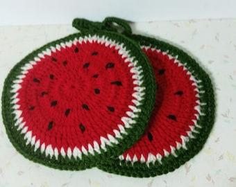 Vintage Crochet Watermelon Slice Pot Holders