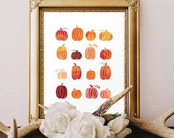 Watercolor Pumpkin Digital Print - Printable Fall Art - Wall Decor - Digital Art - Fall Harvest - Thanksgiving Decor DIY