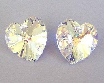 14mm Swarovski crystal AB heart pendants, aurora borealis 14mm crystal hearts, qty 2