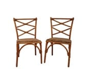 RESERVED Pair of Heywood Wakefield Bamboo Dining Chairs