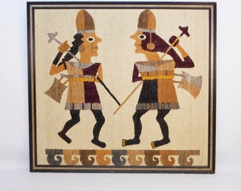 XL Framed South American Warriors Woven Tapestry