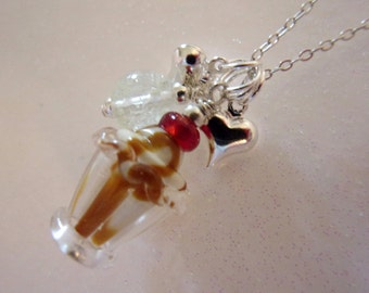 Girl Necklace, Glow in the Dark, Chocolate Sundae, Little Girl Jewelry, Little Miss, Ice Cream, Lampwork Glass
