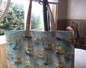 """SAILING SHIPS BAG  XLg 15.5"""" X 18 """"Reusable Fabric Grocery, Farmers Market. blue, grey and browns affordable Eco-Friendly gift"""