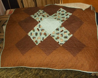 """COFFEE TIME TABLECLOTH, Clearance tablecover, or lap quilt New appx 60"""" square in teal, brown, blue and cream  Reduced 30%  Gift"""