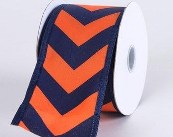 Navy Blue Orange Chevron Ribbon TR23340-AU, College Ribbon, Mesh Supplies, Poly Mesh Supplies