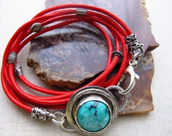 Red Leather Wrap Bracelet, Turquoise Bezel Set Bracelet, Casual Bracelet, Triple Wrap Bracelet, Organic Jewelry by Turquoise Pearl
