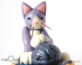 I Love Yarn - A Purple and White Cat Fairy with Yarn Ball in Basket