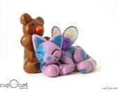 I Love Teddy Bears - A Purple and Blue Cat Fairy with Brown Teddy Bear