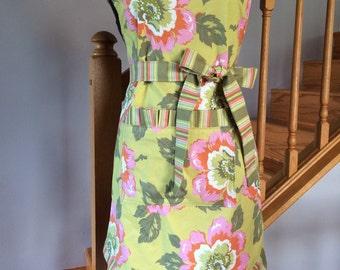 Full Apron - Women's Apron - Floral Apron - Ruffled Apron---Olive Floral