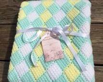 Custom order crocheted Stroller blanket. Pastel checkered stroller blanket.  26x30 baby blanket. Pastel baby blanket, entrelac blanket
