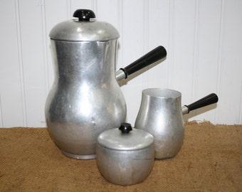 Aluminum Copper Coffee Pot, Creamer, and Sugar Container - Spain - item #1284