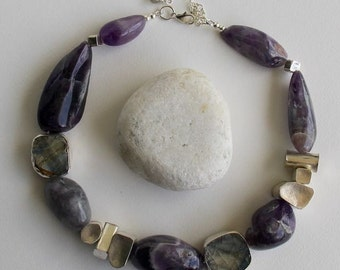 Antique Shard, Large Amethyst, Geometric, Silver Asymmetric Necklace
