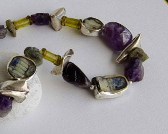 Antique Shard, Amethyst, Peridot, Silver Asymmetric Necklace