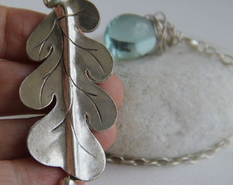 Silver Leaf, dewdrop long Y Necklace: Haiku Inspired