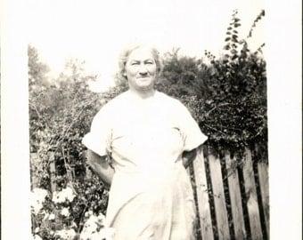 Vintage Photo, Elderly Woman, Garden, Black & White Photo, Old Photo, Found Photo, Snapshot, Vernacular Photo, Antique Photo