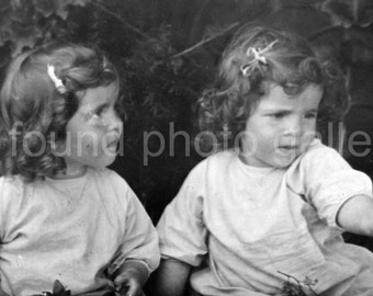 Digital Download, Curly Haired Twin Girls, Vintage Photo, Barrettesm,  Black & White Photo, Antique Photo, Printable, Found Photo