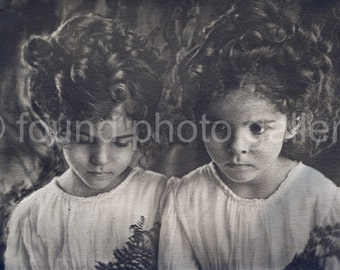 Instant Download, Curly Haired Twin Girls, Fern Fronds, Antique Photo, Sepia Photo, Vintage Photo 133215-Ph-Curly Haired Girl-024