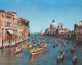 Vintage Postcard, Regatta on Grand Canal, Venice Italy, Color Postcard, Found Postcard, Old Postcard, Travel Postcard