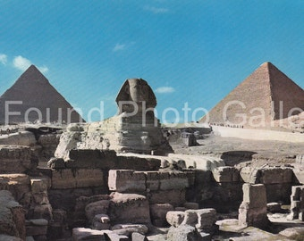 Vintage Postcard, The Great Sphinx & Pyramids, Color Postcard, Travel Postcard, Vacation Postcard, Souvenir Postcard, Ephemera IMG_0014