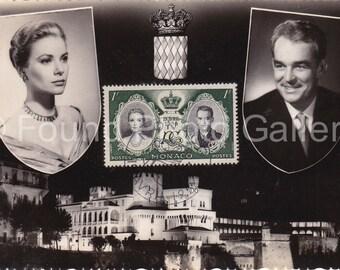 Vintage Postcard, Princess Grace and Prince Rainier III, Monte Carlo, Monaco, Black & White Photo Postcard, Grace Kelly, Royalty