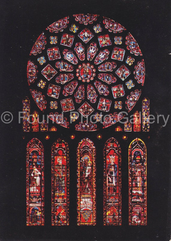 Vintage Postcard Chartres Cathedral Stained Glass Window