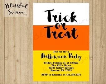 Halloween Party Invitation | Trick or Treat | Halloween Invitation | Candy Corn  | Printable | Halloween Bash | Black Orange | H01