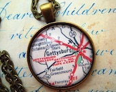 Custom Map Jewelry, Gettysburg College Pennsylvania Vintage Map Pendant Necklace, Personalize, Map Cuff Links, Groomsmen Gifts Ideas