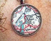 Custom Map Jewelry, Front Royal Sperryville Virginia Vintage Map Pendant Necklace, Personalize Map Jewelry, Charms, Cuff Links, Gift Ideas