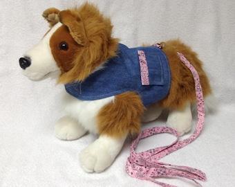 Reversible Dog Harness Vest And Matching Bandana Leash  Custom Sizes From XSmall - Medium Reversible Denim Bandana Cloth